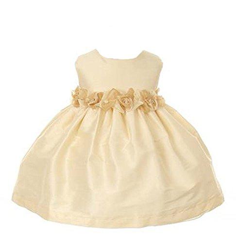(Kid's Dream Rosette Poly Dupioni Flower Girl Easter Dress Champagne Sm)