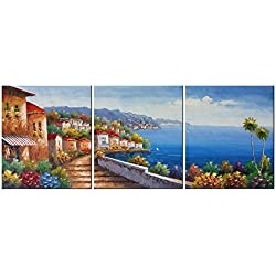 "Living Room Canvas Wall Art Mediterranean Sea Artwork - 12"" x 14"" x 3 Panels Canvas Painting Modern Picture for Bedroom Wall Decor Home Decoration"