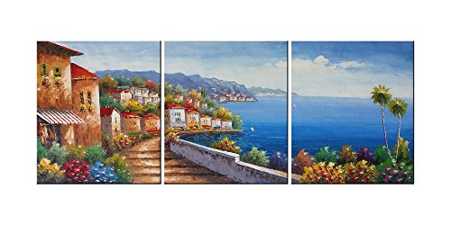 """Living Room Canvas Wall Art Mediterranean Sea Artwork - 12"""" x 14"""" x 3 Panels Canvas Painting Modern Picture for Bedroom Wall Decor Home Decoration"""