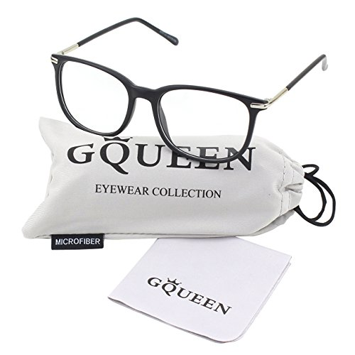 GQUEEN 201579 Fashion Metal Temple Horn Rimmed Clear Lens Glasses,Matte - Lens Glasses Fashion Clear