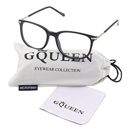 GQUEEN 201579 Fashion Metal Temple Horn Rimmed Clear Lens Glasses,Matte - Women Glasses Black Frame For