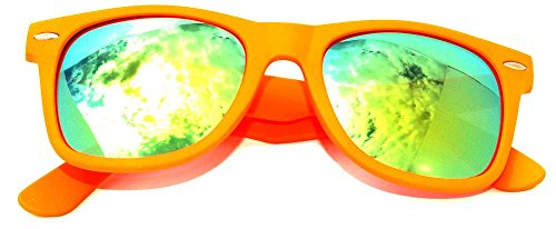 Classic Vintage Style Sunglasses Orange Matte Frame Mirror Lens]()