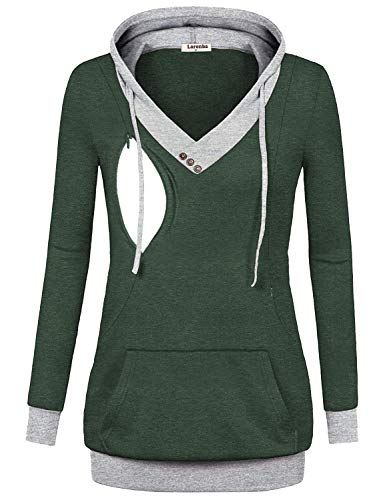 Larenba Breastfeeding Shirts for Women, Juniors Maternity Nursing Top Long Sleeve Patchwork Zipper Sweatshirt with Kangaroo Pocket(Green,Small)