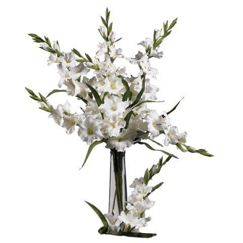 Wholesale White 36 Inch Gladiola Stem Set of 12) , [Decor, Silk Flowers]