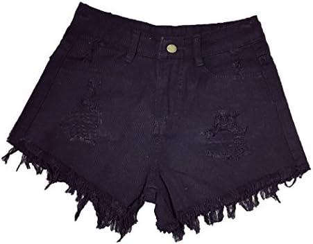 [Mini Marigold] Shorts Denim Distressed High Waist Cut-Off Fringe Crush Jeans Pants Women's