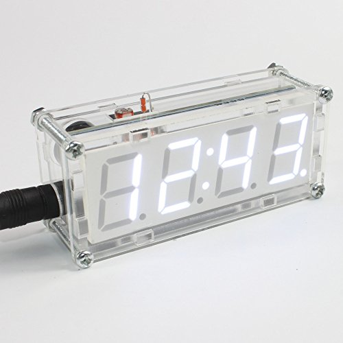 Walmeck 4-Digit DIY LED Electronic Clock Kit Microcontroller 0.8inch Digital Tube Clock with Thermometer Hourly Chime Function DIY Kit Module