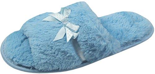 Damen weich Hausschuhe gemütlich Bogen blau warm bequem Geschenk warm Kunstpelz IqBrI4pw