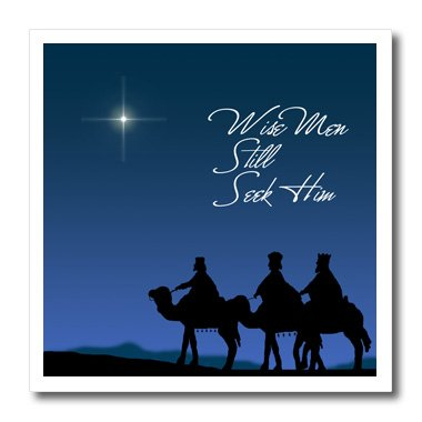 3dRose ht_30754_3 Wise Men Still Seek Him Magi Following The Christmas Star-Iron on Heat Transfer for White Material, 10 By 10-Inch (Wise Men Still Seek Him T Shirt)