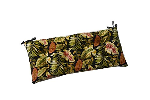 Indoor / Outdoor Tufted Cushion for Bench, Swing, or Glider - Twilight Black, Green, Burgundy, Tan Tropical Palm Leaf - Choose / Select Size (60