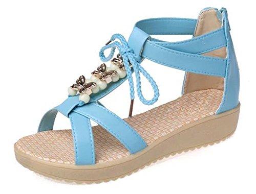 Sommer-Strand-Sandalen flache Sandalen weibliche Studenten wulstige blue