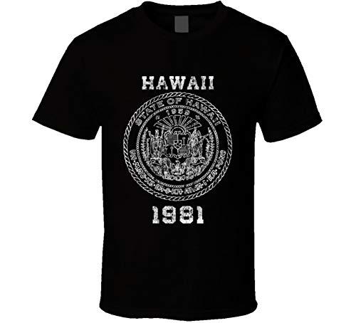 - State Seal 1981 Hawaii State Pride Vintage Look T Shirt L Black
