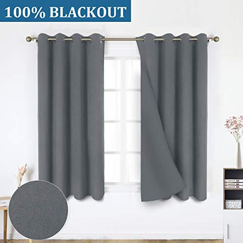 HOMEIDEAS 100% Blackout Curtains - 2 Panels Dark Gray/Grey Room Darkening Window Curtains, Thermal Insulated Solid Grommet Drapes for Bedroom & Living Room, 52 x 63 inches