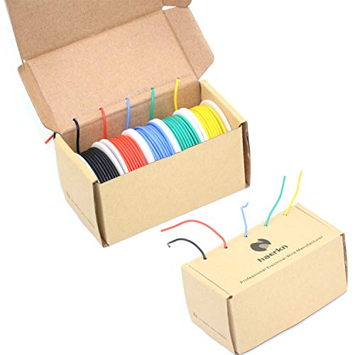 20 awg Silicone Electrical wire Cable 5 Colors (23ft each) 20 gauge HookUp wires electronics kit stranded Tinned Copper wire Flexible and soft for DIY ()