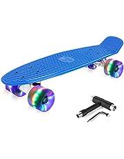BELEEV Skateboard Complete Cruiser Mini Skateboard for Kids Teens Adults & Beginners, PU LED Flashing Wheels with All-in-One Skate T-Tool