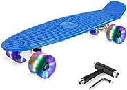 BELEEV Skateboard Complete Cruiser Mini Skateboard for Kids Teens Adults & Beginners, PU LED Flashing Whee