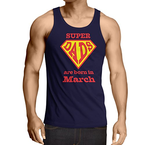 "Vest ""Super Dads are born in March"" anniversary gifts him (XX-Large Blue Multi Color)"