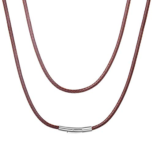 (ChainsHouse 3mm Wide Men's Brown Braided Leather Necklace Cord with Stainless Steel Clasp, 16 inch)