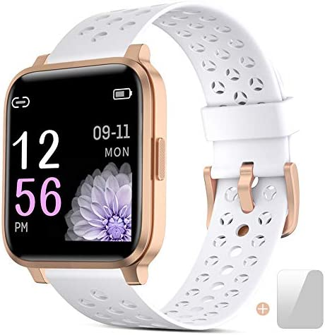 Smart Watch, Fitness Tracker Heart Rate Sleep Monitor Bluetooth Activity Tracker Calorie Counter Full Touch Screen Waterproof Smart Watch for Women SMS Call Notification Step Counter for Android iOS