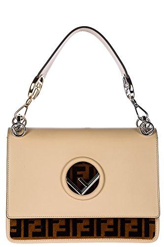 Fendi women's leather shoulder bag original kan i beige