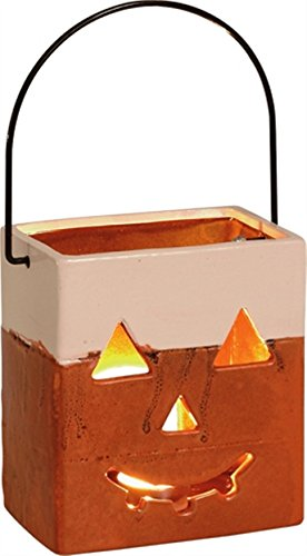 Candy Corn Bag with Handle 6 inch Ceramic Halloween Tea Light Candle Holder (Halloween Cutouts For Pumpkin Carving)