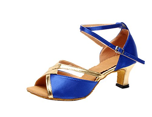 Gaorui women ladies glitter ankle strap dance shoes buckle mid heel peep toe latin salsa waltz indoor dance shoes Royal Blue ZasIP4