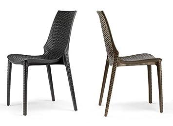 Idea Sillas Bar 6, sillas de Polipropileno Trenzado para Exteriores ...