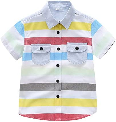 Camisetas Niños SUNNSEAN Camisa de Solapa a Rayas de Manga Corta Arcoiris Chico Tops Blusas Verano Camisas: Amazon.es: Ropa y accesorios
