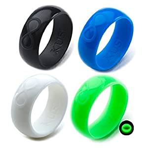 KUSI Silicone Wedding Ring Set for Men, Size 10, Black, Green Glow in the Dark, White, Blue, Silicone Band 4 Pack Rings