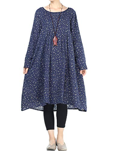 (Mordenmiss Women's Flowers Floral Pleated Fall Casual Dress with Pockets (M, Long Sleeve-Navy))