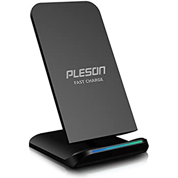 PLESON Fast Wireless Charger Cell QI Fast Wireless Charging Pad Stand for Samsung Galaxy Note 8 S8 Plus S8+ S8 S7 S7 Edge Note 5 and Standard Charge for iPhone X iPhone 8 iPhone 8 Plus-No AC Adapter