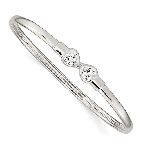 - 925 Sterling Silver Cubic Zirconia Cz Heart/flexible Bangle Bracelet Cuff Expandable Stackable Flexible Fine Jewelry Gifts For Women For Her