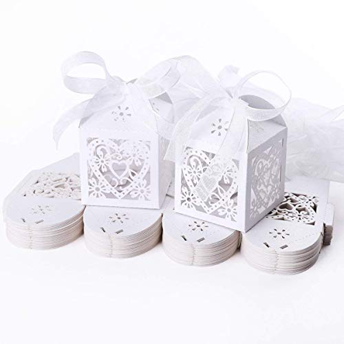 CDKJ 50pcs Laser Cut Wedding Hollow Love Heart Wedding Favor Candy Gifts Boxes Ivory White