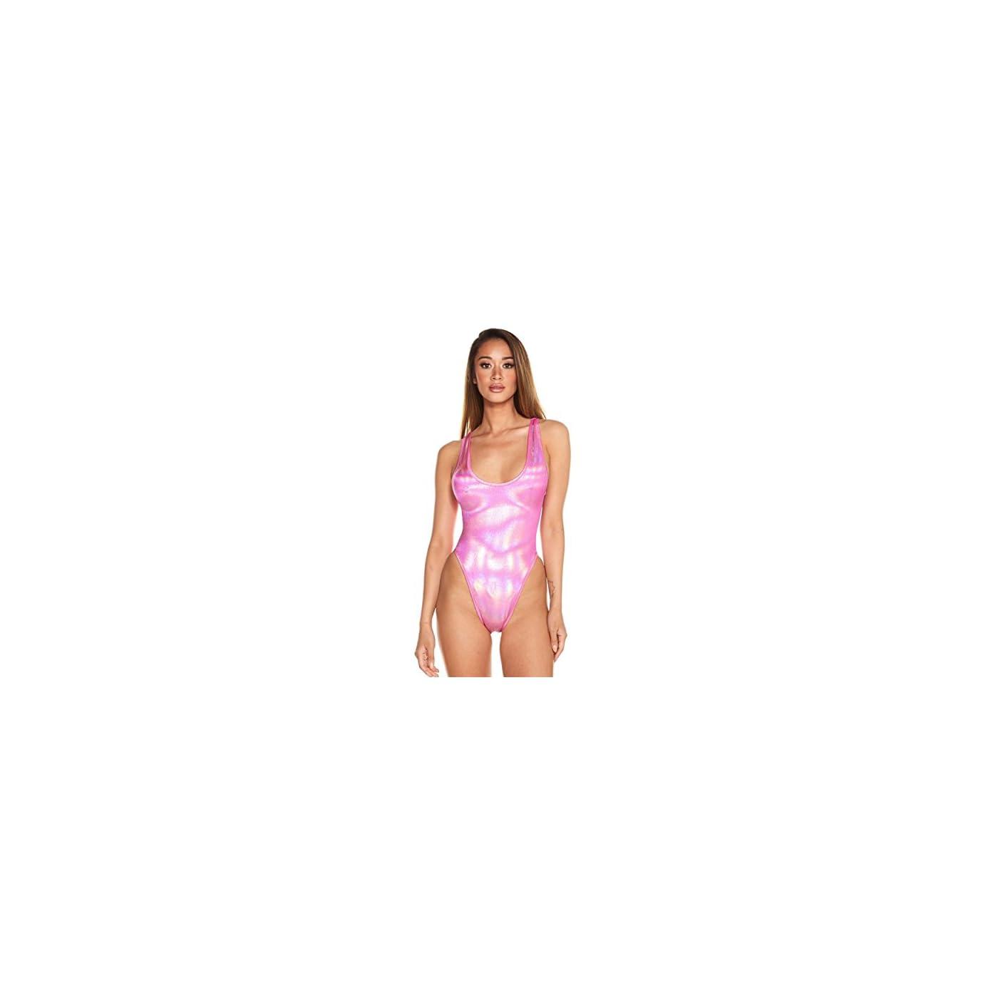 - 41hoNrU6eNL - Spectrum Womens High Cut Holographic Bodysuit