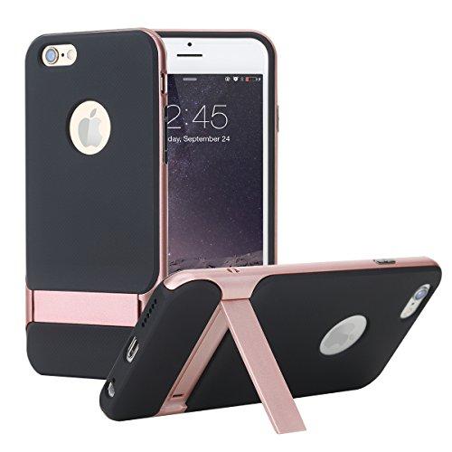 Caja de la roca para Iphone 6 / 6s 4.7Or 6Plus / 6s más el caso 5.5 , soporte de Royce de la roca Anti-rasguño de la protección de gota ultra fino Kickstand PC + TPU caso para 6 / 6s o 6plus / 6s  Rose Gold