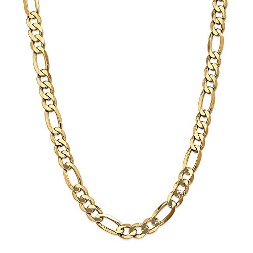 (Men's 10mm 14k Yellow Gold Flat Figaro Chain Necklace, 24 Inch)