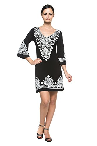 1970s Mini (Women's Ethnic Moroccan Boho Peasant Bell Flare Sleeve Jersey Tunic Mini Dress (XL, Black))