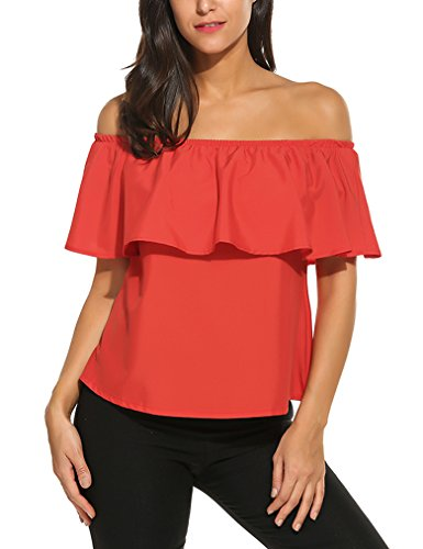 Sherosa Women's Off Shoulder Ruffles Solid Casual Blouse Loose Tops, Red M