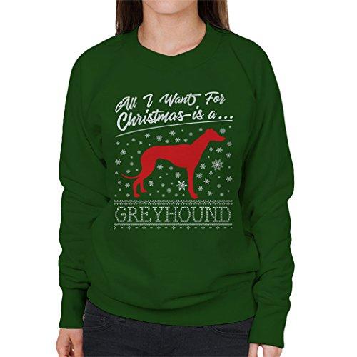 I I I Coto7 Bottle Bottle Bottle Christmas Green All Sweatshirt Want Greyhound For Women's vvx1PR