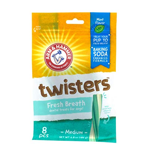 Arm & Hammer Twisters Dental Treats for Dogs | Dental Chews Fight Bad Breath, Plaque & Tartar without Brushing | Mint Flavor, 8 Pcs