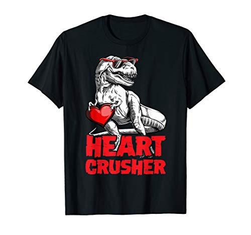 Valentines Day Dinosaur shirt Boys Kids Heart Crusher T rex