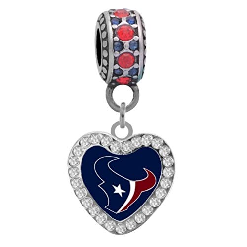- Final Touch Gifts Houston Texans Rhinestone Heart Charm Fits European Style Large Hole Bead Bracelets