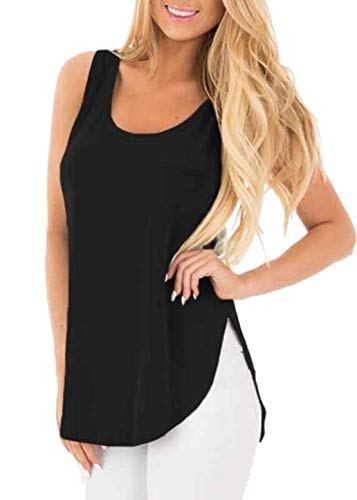 eless Round Neck Tank Tops Loose Fit T Shirt Fashion Tunics for Juniors (Black, XL) ()