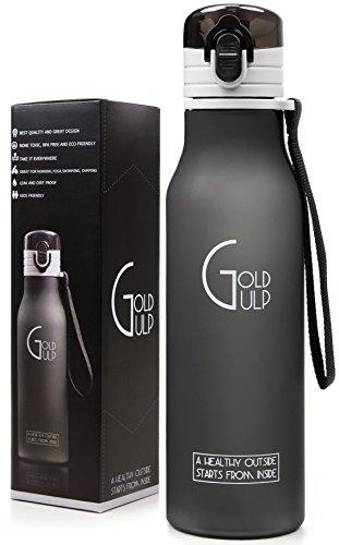 Gold Gulp Small Sport Water Bottle with Flip Top Leak Proof, 18 oz - Matte Black