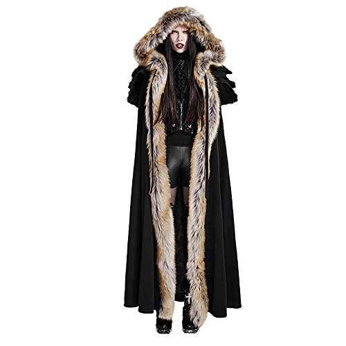 Steampunk Womens Fur Hooded Long Coats Cape Cloak Gothic Overbearing Winter Halloween Costume (Black)