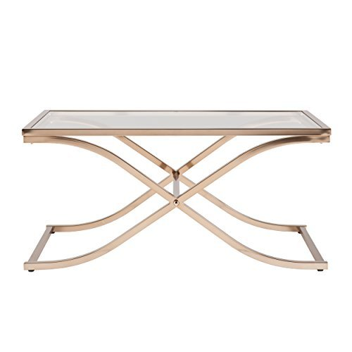 Southern Enterprises Vogue Cocktail Table, Champagne Brass Finish - Brass And Glass Coffee Table