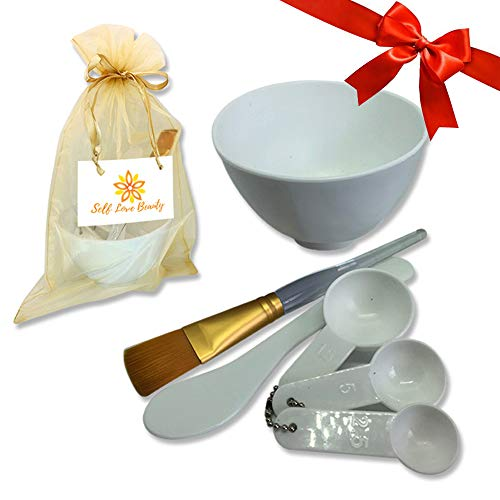 Facial Clay Mask & Mud Mask Mixing Silicone Bowl & Tool Set- DIY with FREE Gold Bag, Brush, White Spatula, Measuring Spoons| For Deep Pore Cleansing With Secret Indian Healing Bentonite Clay Mask (Easy Face Mask Recipes To Make At Home)