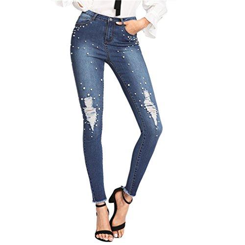 Pantalones vaqueros rasgados rebordeados primavera Pantalones casuales azules de la cintura del botón de bolsillo de la cremallera pantalones vaqueros ajustados de las mujeres Sky Blue