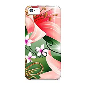 [ECHEVAL3966MiBMj]premium Phone Case For Iphone 5c/ Pink Lilies Gold Tpu Case Cover