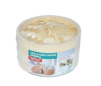 Vaporiera in bamb/ù per cottura al vapore cottura al vapore 15x9cm a 1/livello con coperchio orientale cestino di bamb/ù contenitore di bamb/ù