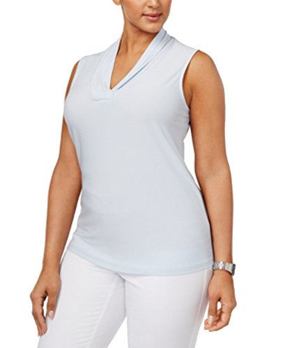 Anne Klein Plus Size Pleated Shell (Harbor Blue, 0X)